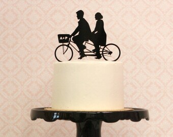 Custom Bike Wedding Cake Topper with Silhouettes on a Tandem Bike Personalized with YOUR Silhouette, Bicycle topper