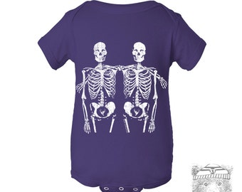 Baby One-Piece SKELETON Friends  Eco screen printed (+ Color Options) - FREE Shipping