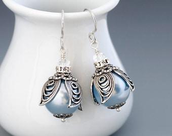 Light Blue Earrings, Filigree Flower Earrings, Swarovski Crystal Pearl Earrings Dangle, Blue Pearl Jewelry, Silver Flower Jewelry, Habren