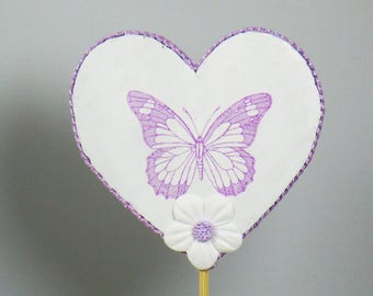 White and purple heart shaped decorative butterflies stick