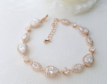 Rose Gold Wedding Bracelet, Crystal Bridal Bracelet, Wedding Jewelry, Simple Bridal Bracelet, Gold, Bridal Jewelry, Abby Bracelet