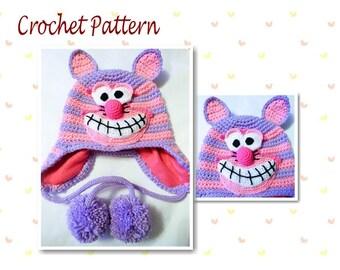 Crochet Pattern Cheshire Cat Hat Animal Hat Character Hat Novelty Hat Cat Hat Earflap Hat