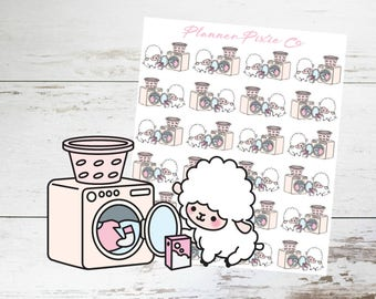 Lamb Planner Stickers // Laundry // Housework // Chores // 002