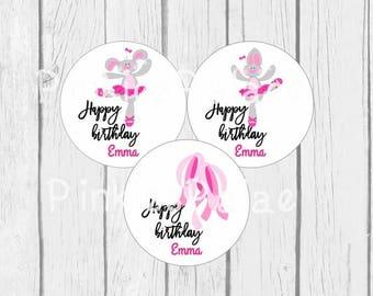 Birthday Stickers Rabbit Ballet Pink Personalized Birthday Stickers set of 24 - 6