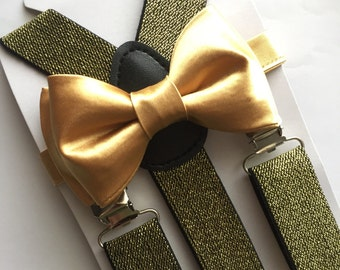 Gold bow tie and Glitter Gold Suspenders set. /Adults/ Kids