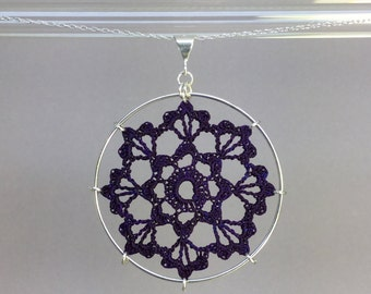Scallops doily necklace, purple hand-dyed silk thread, sterling silver
