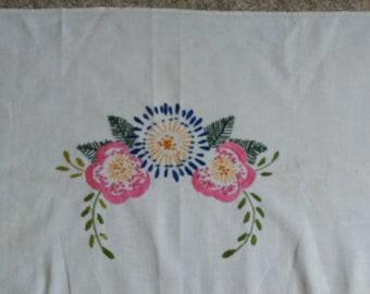 Vintage linen embroidered  dresser scarf, vintage home decor, pink and blue flowers