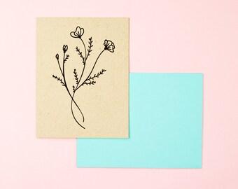 Botanical Card - A2 Stationery - Handdrawn Notecard - Blank Card - Poppy Illustration - California Poppy - Floral Card - Flower Drawing
