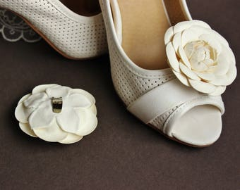 Leather cream white caqmellia flower shoe clips, bridal shoe brooches, leather shoe clips
