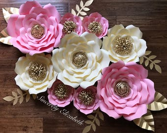 9 Piece Paper Flowers, Wedding Decor, Bridal Decor, Backdrops, Grand Opening SALE.