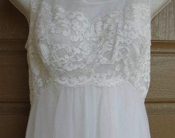 Vintage 1960s white maxi nightgown slip small medium B/C cup 60s shadowline romantic fits medium lace sheer nylon