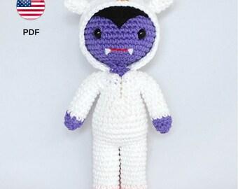 Patrón amigurumi vampiro unicornio, monstruo juguete, muñeco criatura mágica, unicornio ganchillo, peluche unicornio (patrón PDF en INGLÉS)
