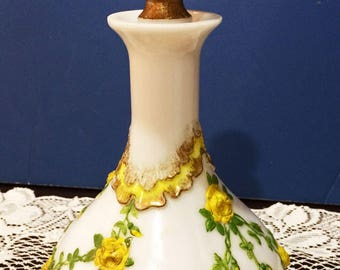 Dithredge Victorian Milk Glass Dresser Vanity Decanter Bottle with Ornate Rose Stopper Embossed Yellow Roses & Leaves