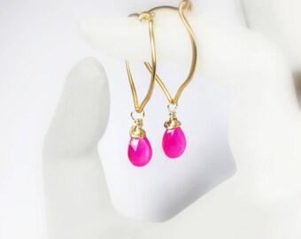 Hot Pink Chalcedony 24K Gold Vermeil Gold Hoop Earrings