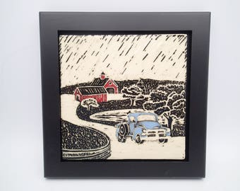 Ceramic Wall Art, Old Chevy Truck, Farm House Decor, Sgraffito Carved Art Tile,  Framed Art Tile, Wall Tile, Red Barn Tile.