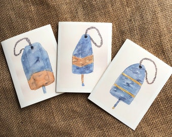 Set of Note Cards, Watercolor Cards, Nautical Note Cards, Set of 6 Note Cards, Buoys, Greeting Cards, Notecards,  Handpainted Cards
