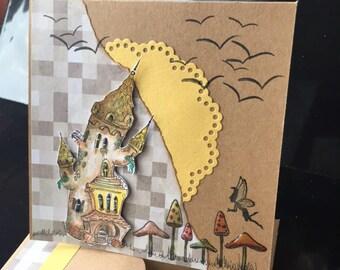 fairytale Castle greetings card.