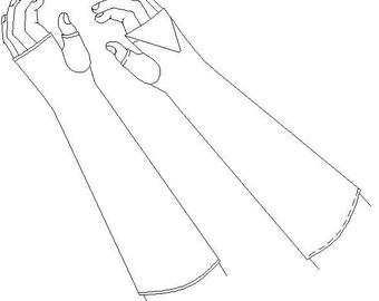 Fingerless Mittens / Gloves Regency Multi Sized Sewing Pattern - 1800-5