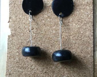 Black dangle wrecking ball polymer clay earrings