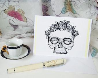 Skull card handmade blank inside A6 C007