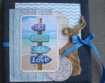 Accordion Photo Book, Blue Sea, photo album 4x4, Handmade scrapbook album