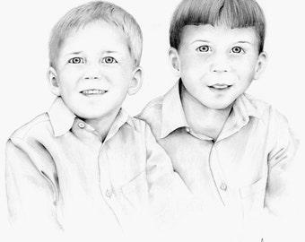 Custom Portrait Pencil Portraits Personalized Siblings Gift Portrait Drawing of Boys Memento Keepsake Gifts Kids Drawing Portrait Fine Art
