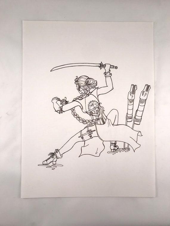 Mulan Illustration | Empowered Princess Series | Women's Empowerment | Women of Power | Disney Princess Hand Drawing