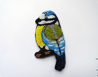 "Colorful winter bird jewelry ""The Blue Tit"" - MADE TO ORDER"