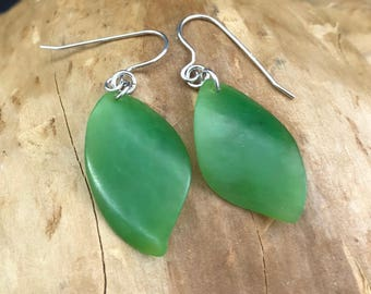Siberian Nephrite Jade Leaf Earrings - Natural Jade - Green Jade