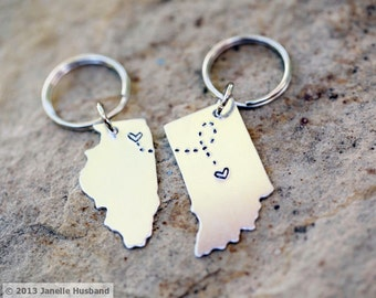 CUSTOM Long Distance Love KEYCHAINS Best Friend Gift- Set of Two(2) State Maps #SET