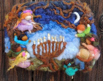 Art - Chanukah Lights Bright for All Children- wool three dimentional art piece by Rebecca Varon Nushkie