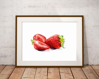 Strawberry Fruit Art - Painting Still Life Food Print Watercolor Fine Art Red Color Home Decor Realistic Kitchen art