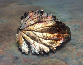 Unbe-Leafable Artisan Bronze Precious Metal Clay Leaf Bracelet Cuff