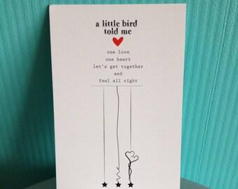 Postcard - a little bird told me (a little birdie told me)