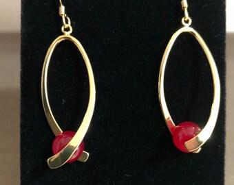 Red Jade Gemstone Earrings
