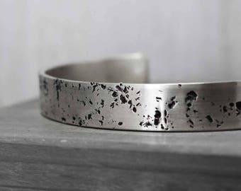Wide Hammered Silver Cuff, Silver Galaxy Cuff, Personalized Silver Cuff, Custom Silver Cuff, Hammered Silver Bracelet Cuff Hand Stamped Cuff