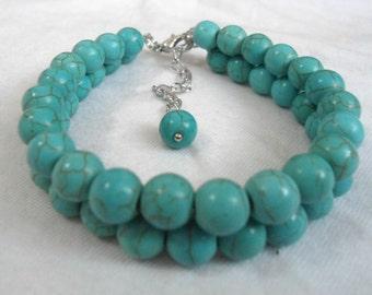 Turquoise  Bracelet,2 Strands turquoise  Bracelet,,Wedding Jewelry,Pearl Jewelry,Bridesmaid Bracelet,Bracelet,
