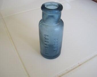 """Nice Cobalt Glass Bromo Caffeine Bottle 3 1/4"""" Tall"""