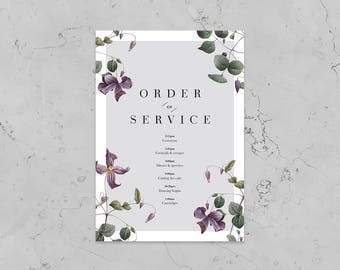 Purple Bloom Floral Wedding Order of Service - Printed Design - Personalised Order Of Service - Available with or without foil