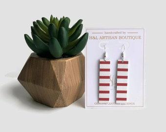 Leather Earrings, Red & White Striped, Bar Earrings, Joanna Gaines Inspire, Statement Earrings, Red Earrings, Glitter Earrings