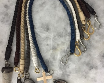 Braided Leather Choker with Hammered Pewter Clasp, Soft Deerskin, Handmade, DIY, Neckkace Only, Soft, Assorted Colors