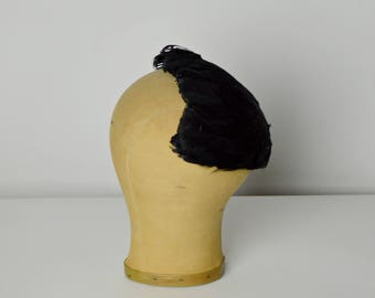 Black Feathered Hat, Black Feathered Cap, Half Hats, 50s Hats, Millinery Hats, 1950s Hats, Mini Hats, Cocktail Hats, Holiday Hats,