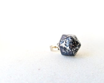 Individually cast clear resin D20 dice ring with silver glitter