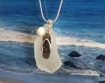 Flip-flop sea glass necklace