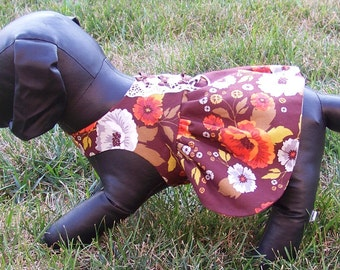 Holiday Dog Dress, Brown with Flowers