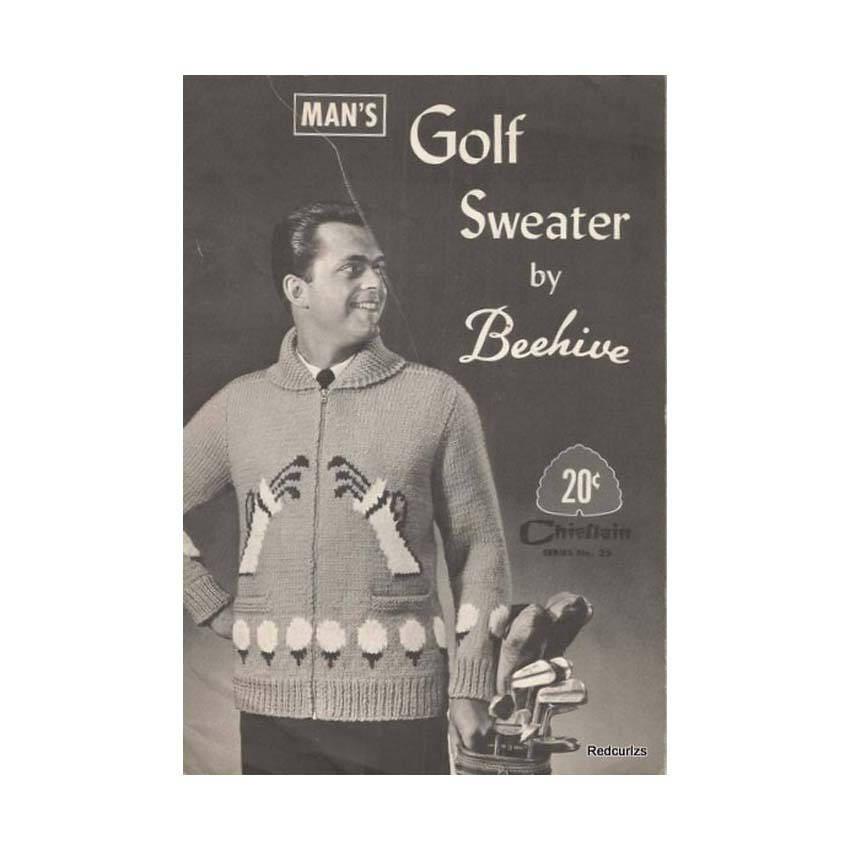 50er Jahre golf Pullover stricken Muster Bienenstock Chieftan