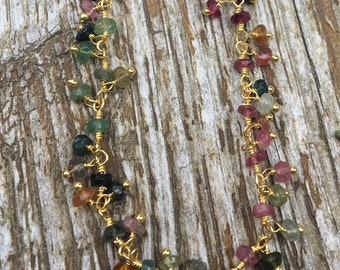 Multi Colored Tourmaline Sterling Vermeil Necklace 26""