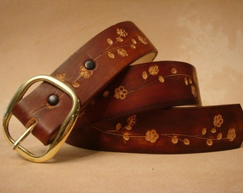 Tooled Leather Belt - Custom Leather Belt - Personalized Leather Belt - Brown Floral 2 Pattern