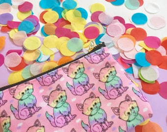 Rainbow Cat Purse - Zip Pouch - Coin Purse - bag - accessories - pattern - kitsch - kawaii - colourful - rainbow - pastel - pattern - cats