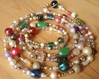 53 Inches of Multicolored Beaded Necklace Heaven